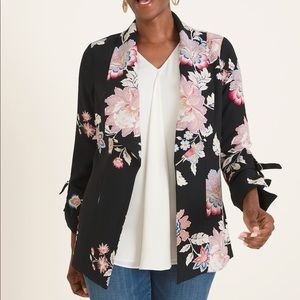 NWT Chico's Floral Print Drape Front Jacket